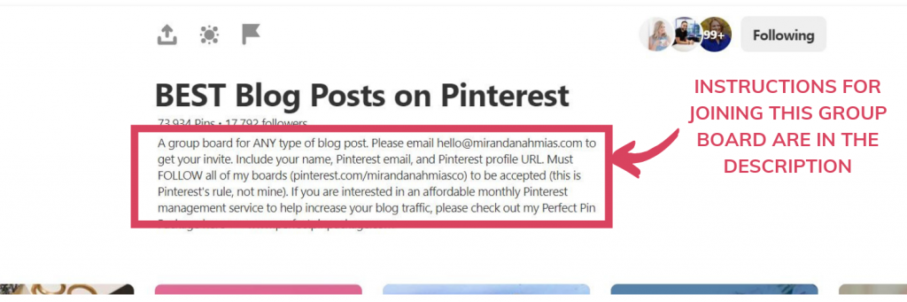 Instructions to join a Pinterest group board