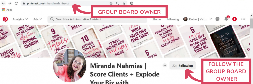 URL of a Pinterest group board owner