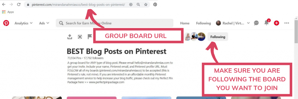 Example of a Pinterest group board you want to join