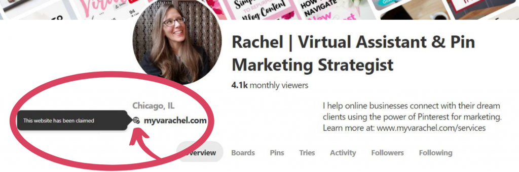 Pinterest profile - this website has been claimed