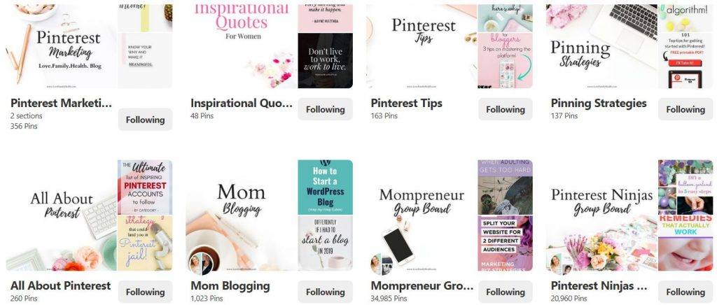 Example of Pinterest board covers