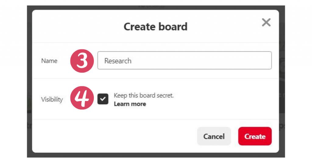 Creating a secret board on Pinterest