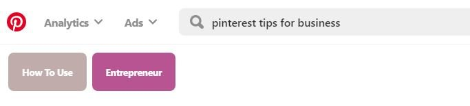 Pinterest keyword search example in tiles