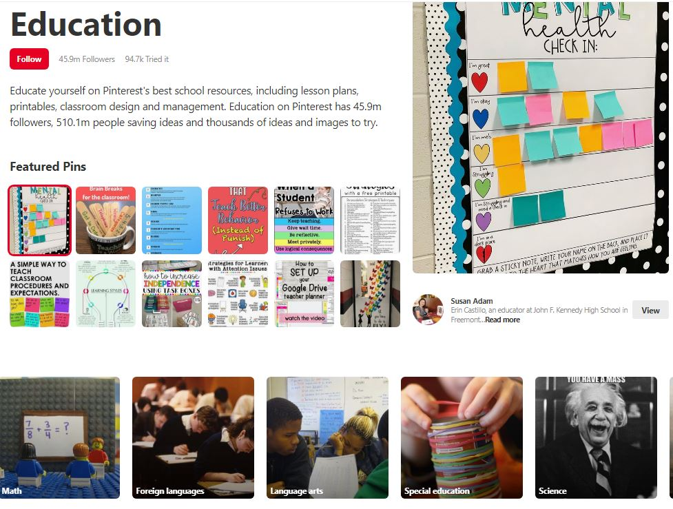 Education Category in Pinterest