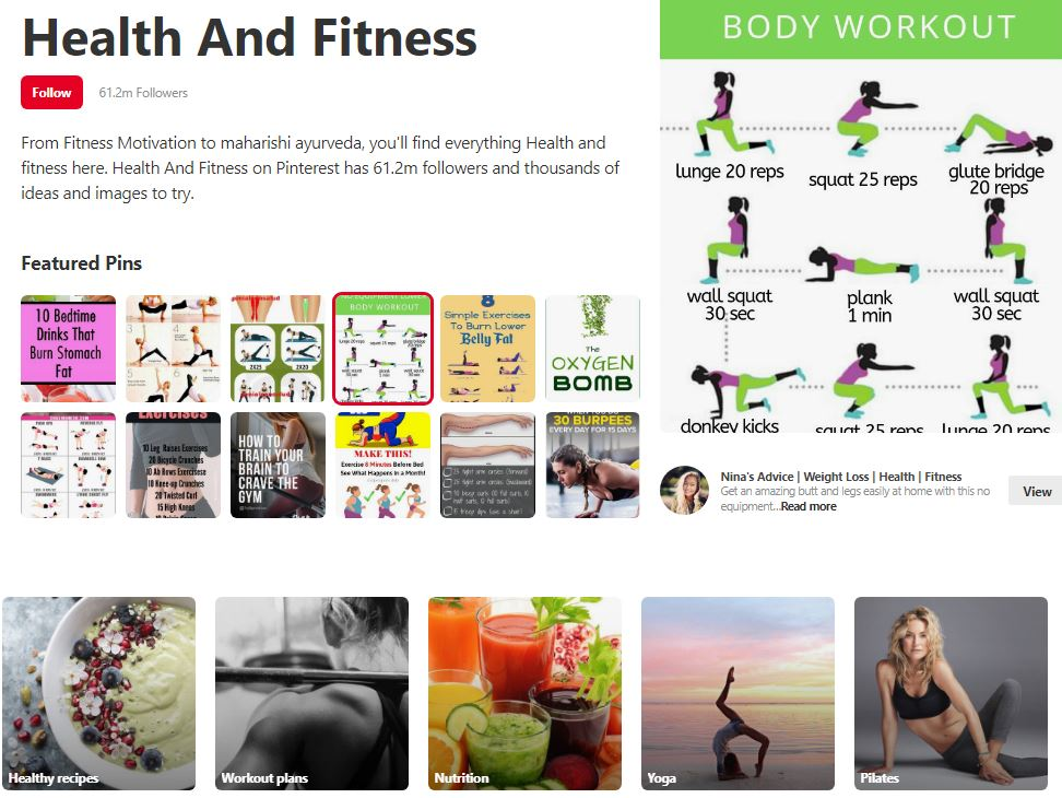 Health and Fitness Category in Pinterest