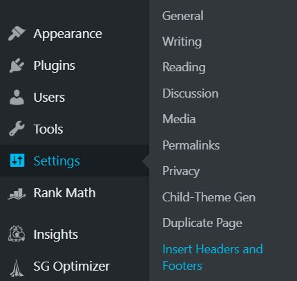 Header and footer plugin in on the sidebar