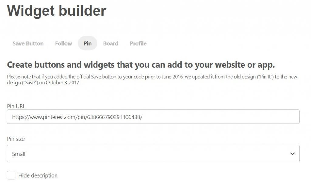Pinterest pin widget builder