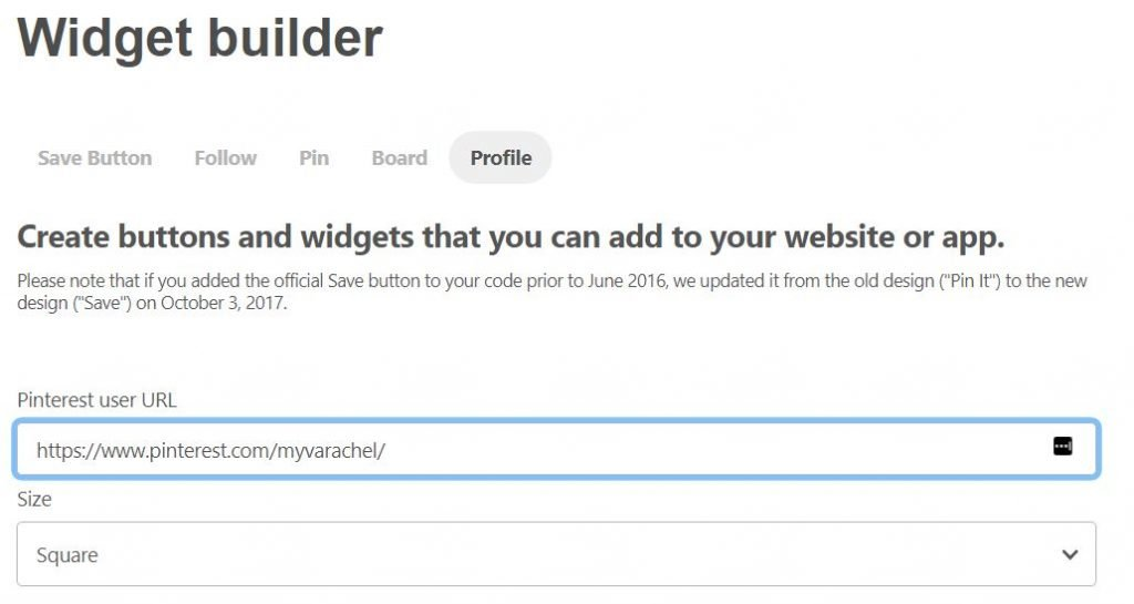 Pinterest profild widget builder