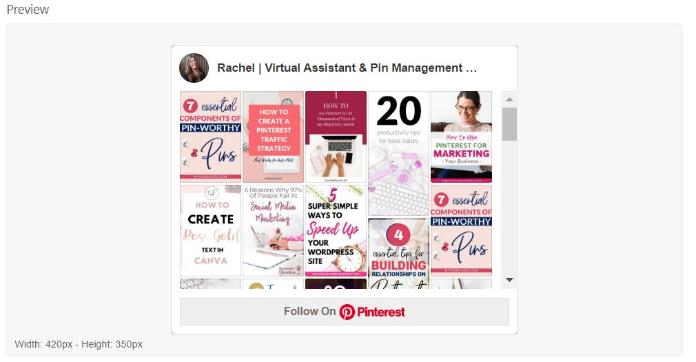 Pinterest profile widget builder preview